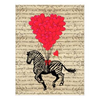Lustige Vintage Zebra- u. Herzballone Postkarte