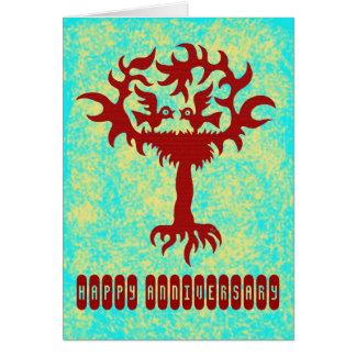Lustige Vögel auf Baum glücklichem Jahrestags-Kart Karten