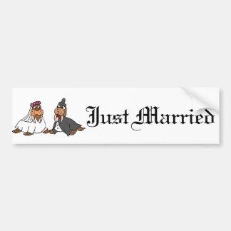 Lustige Walross-Braut-und Bräutigam-Hochzeit Autoaufkleber