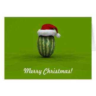Lustige Wassermelone mit Weihnachtsmann-Hut Karte