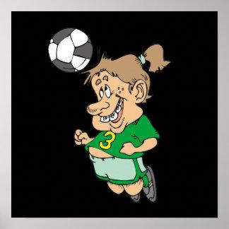 Lustige weibliche Fußball-Spieler-T-Shirts und Ges Poster