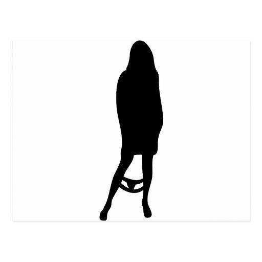 lustige weibliche Silhouetteikone Postkarten
