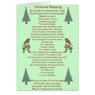lustige Weihnachtsgedichtrotkehlchen- und Grußkarte