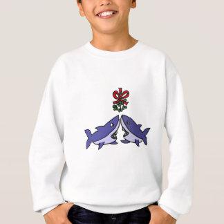 Lustige Weihnachtshaifisch-Mistelzweig-Liebe Sweatshirt