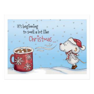 Lustige Weihnachtskarte - sie fängt an, a zu Postkarte