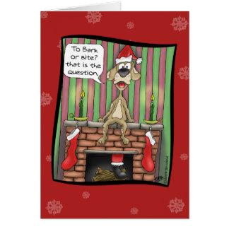 Lustige Weihnachtskarten: Schutzhund im Dienst Karte