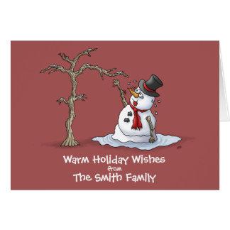 Lustige Weihnachtskarten: Warme Grüße Mitteilungskarte