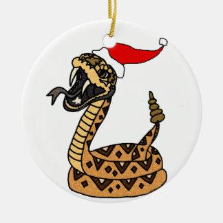 Lustige Weihnachtsklapperschlange Keramik Ornament
