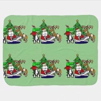 Lustige Weihnachtskunst mit Sankt und Freunden Kinderwagendecke
