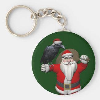 Lustige Weihnachtsmann-Liebe-Raben Standard Runder Schlüsselanhänger