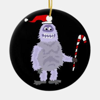 Lustige WeihnachtsYeti Keramik Ornament