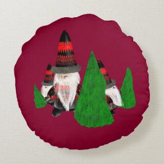 Lustige Weihnachtszwerge Rundes Kissen
