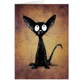 Lustige wenig schwarze orientalische Katzen-Kunst Karte