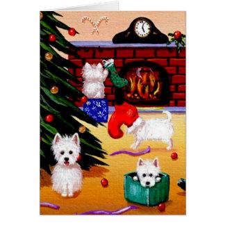 Lustige Westie christliche Weihnachtskunst Karte
