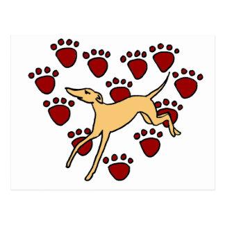 Lustige Windhund-Welpen-Liebe Postkarte