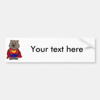 Lustige Wunder Wombat Superhero-Cartoon-Kunst Autoaufkleber