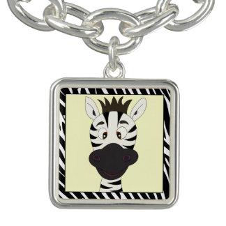 Lustige Zebra-Cartoonmädchen Charm Armband