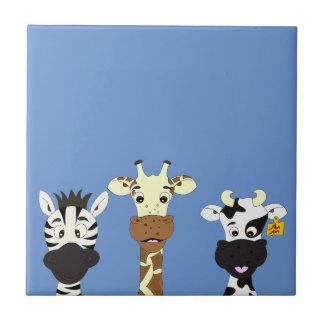 Lustige Zebragiraffenkuh-Cartoonkinder Keramikfliese