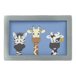Lustige Zebragiraffenkuh-Cartoonkinder Rechteckige Gürtelschnalle