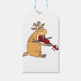Lustige Ziege, die Geigen-Cartoon spielt Geschenkanhänger