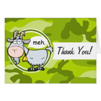 Lustige Ziege; hellgrüne Camouflage, Tarnung Grußkarten