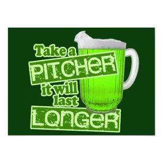 Lustigen St Patrick Tagesgrün-Bier 14 X 19,5 Cm Einladungskarte