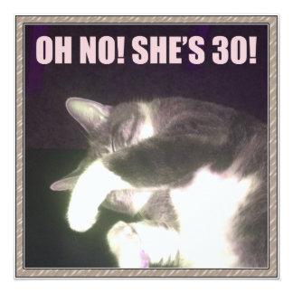Lustiger 30. Geburtstag (Katze) Quadratische 13,3 Cm Einladungskarte