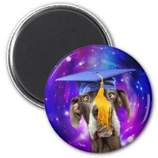 Lustiger Abschluss-Hundetragender Hut Runder Magnet 5,1 Cm