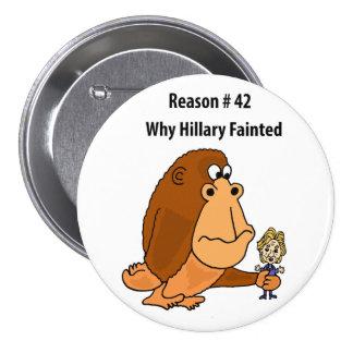 Lustiger Affe, der Hillary Clinton politisch hält Runder Button 7,6 Cm