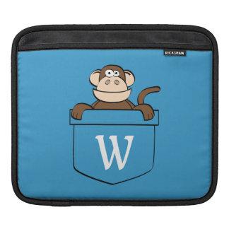 Lustiger Affe in einer Tasche mit Monogramm iPad Sleeve