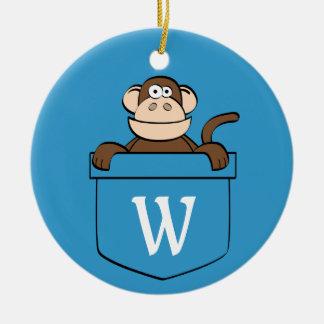 Lustiger Affe in einer Tasche mit Monogramm Rundes Keramik Ornament