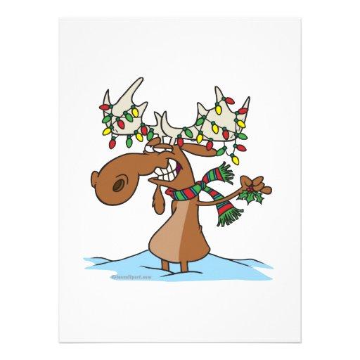 lustiger alberner Weihnachtselch-Cartoon Individuelle Einladungen