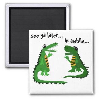 Lustiger Alligator, der mit Krokodil spricht Quadratischer Magnet