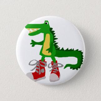 Lustiger Alligator in den roten hohen Runder Button 5,7 Cm