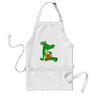 Lustiger Alligator mit Bier-St Patrick Tageskunst Schürze
