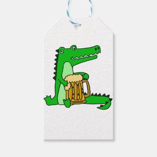 Lustiger Alligatortrinkender Bier-Cartoon Geschenkanhänger