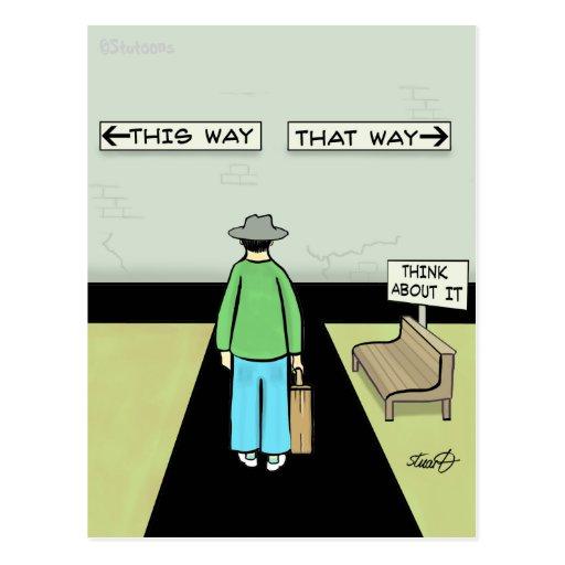 Lustiger Aufschub-Cartoon Postkarte