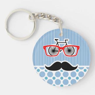 Lustiger Baby-Blau-Schnurrbart Hipster Schlüsselring