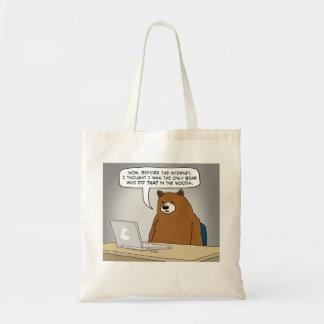 Lustiger Bär, der das Internet surft Budget Stoffbeutel