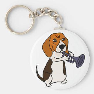 Lustiger Beagle-Hund, der Trompete spielt Schlüsselanhänger