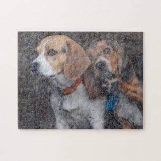 Lustiger Beagle-schmutzige Sturm-Tür Puzzle
