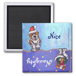 Lustiger Bernhardiner-Hundefrecher Nizza Feiertags Quadratischer Magnet