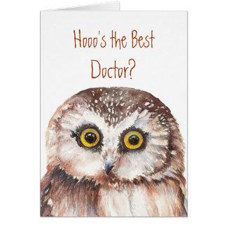 Lustiger bester Doktor? Danke kluger Eulen-Spaß Karte