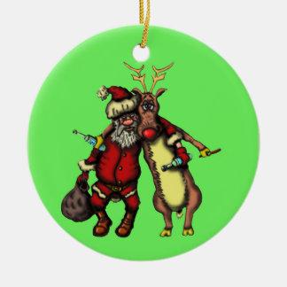 Lustiger betrunkener Sankt- und Keramik Ornament