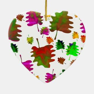 Lustiger Blätter Watercolor Keramik Herz-Ornament