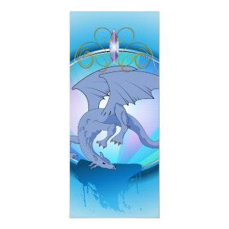 Lustiger blauer Cartoondrache 10,2 X 23,5 Cm Einladungskarte