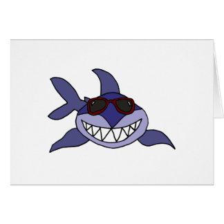 Lustiger blauer Haifisch mit Sonnenbrille Karte