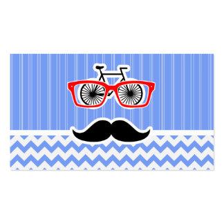 Lustiger blauer Zickzack Hipster Visitenkarten