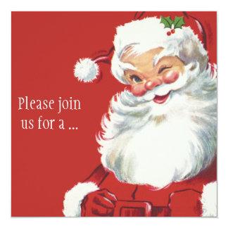 Lustiger blinzelnder Weihnachtsmann, Vintages Quadratische 13,3 Cm Einladungskarte