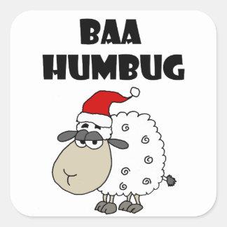 Lustiger Blökenhumbug-WeihnachtsCartoon Quadratischer Aufkleber